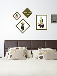 cheap -SK7118 Cactus Plant Photo Frame Decorative Sticker TV Background Wall Sticker Removable