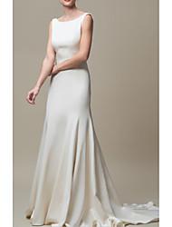 cheap -Mermaid / Trumpet Jewel Neck Court Train Stretch Satin Regular Straps Elegant Wedding Dresses with Draping 2020