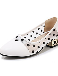cheap -Women's Loafers & Slip-Ons Low Heel Round Toe PU Casual / Minimalism Spring & Summer Black / White / Color Block