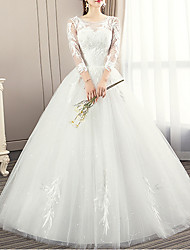 cheap -Ball Gown Wedding Dresses Jewel Neck Sweep / Brush Train Lace 3/4 Length Sleeve Illusion Sleeve with Lace Insert Appliques 2020