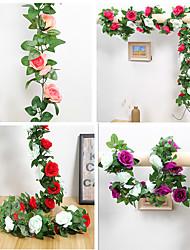 cheap -Artificial Flower 9 Roses Artificial Plant Vine Rattan Decoration Wedding 1 Pack