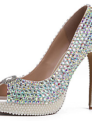 cheap -Women's Sandals Stiletto Heel Peep Toe Rhinestone Cowhide British / Minimalism Spring & Summer / Fall & Winter Silver / Wedding
