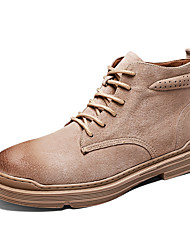 cheap -Men's Fashion Boots Pigskin Fall / Fall & Winter Casual Boots Walking Shoes Breathable Booties / Ankle Boots Light Brown / Dark Brown