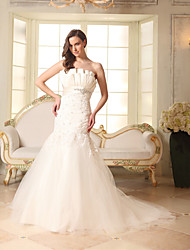 cheap -Mermaid / Trumpet Strapless Court Train Lace / Satin / Tulle Strapless Made-To-Measure Wedding Dresses with Beading / Appliques 2020
