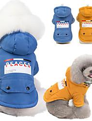 baratos -Cachorros Casacos Camisola com Capuz Inverno Roupas para Cães Amarelo Azul Ocasiões Especiais Algodão Retalhos Fantasias S M L XL XXL
