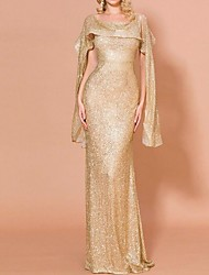 cheap -Sheath / Column Off Shoulder Sweep / Brush Train Polyester Dress with Sequin by LAN TING Express
