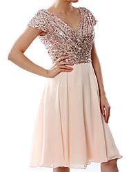 cheap -Women's Plus Size Party Swing Dress Sequins Shimmery Black White Blue S M L XL