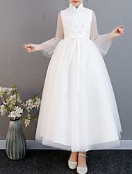 cheap -A-Line Ankle Length Pageant Flower Girl Dresses - Polyester Long Sleeve High Neck with Belt / Appliques
