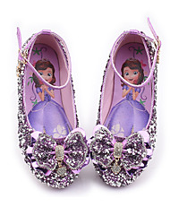 cheap -Girls' Flower Girl Shoes Synthetics Flats Little Kids(4-7ys) / Big Kids(7years +) Bowknot / Buckle / Sequin Purple / Pink / Blue Spring / Fall / Party & Evening / Rubber