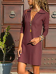cheap -Women's T Shirt Dress - Solid Colored Black Wine Light Blue S M L XL