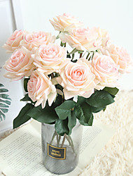 cheap -Beautiful Rose Artificial Flowers Silk Small Bouquet Party Spring Wedding Decoration Fake Flower 1 branch 9*42.5cm