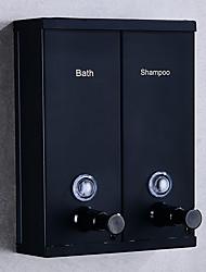 abordables -distributeur de savon de salle de bain double tête maison hotel acier inoxydable douche gel rosée séparateur montage mural noir
