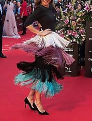 cheap -Women's Daily Basic Bodycon Dress - Rainbow Black & White, Tassel Fringe Black S M L XL