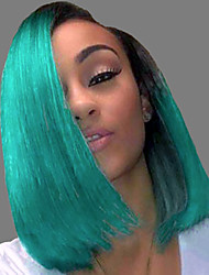 cheap -Unprocessed Virgin Hair 13x6 Closure Lace Front Wig Bob Middle Part Deep Parting style Brazilian Hair Peruvian Hair Straight Blue Wig 150% Density Best Quality Hot Sale 100% Virgin Comfy Coloring