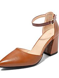 cheap -Women's Heels Chunky Heel Pointed Toe PU Classic / Minimalism Fall / Spring & Summer Light Brown / Pink / Beige