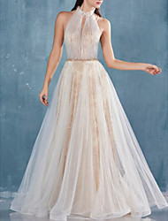 cheap -A-Line Halter Neck Floor Length Lace / Tulle Elegant Prom Dress with Sash / Ribbon / Pleats 2020