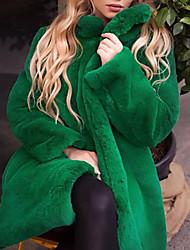 abordables -Femme Quotidien Chic de Rue Hiver Longue Manteau de fausse fourrure, Couleur Pleine Mao Manches Longues Fausse Fourrure Noir / Jaune / Vert