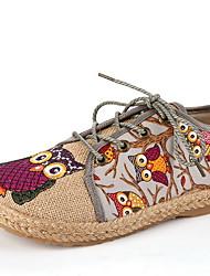 cheap -Women's Flats Flat Heel Round Toe Canvas Winter Red / Gray