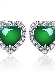 cheap -Women's Cubic Zirconia Earrings Geometrical Heart Stylish Earrings Jewelry Silver For Gift Daily 1 Pair