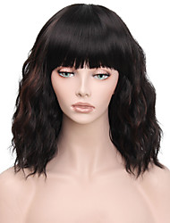 cheap -Synthetic Wig Curly Wavy Short Bob Neat Bang With Bangs Wig Medium Length Dark Auburn Synthetic Hair 14inch Women's Heat Resistant Classic Synthetic Black Dark Brown / Natural Hairline