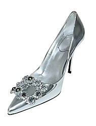 cheap -Women's Wedding Shoes Stiletto Heel Pointed Toe PU Winter Black / White / Silver