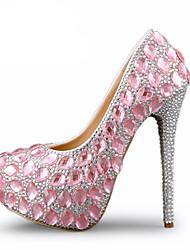 cheap -Women's Heels Stiletto Heel Round Toe Rhinestone / Crystal PU Vintage / Minimalism Fall & Winter Pink / Wedding / Party & Evening