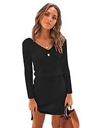 cheap -Women's Elegant A Line Dress - Solid Colored Black Blushing Pink Gray S M L XL