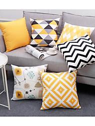 abordables -joli cadeau à des amis de la famille nordique simplicité vintage rétro abstrait motif géométrique beige coton lin corps jeter taie d'oreiller couverture maison chaise canapé décor extérieur carré 18 p