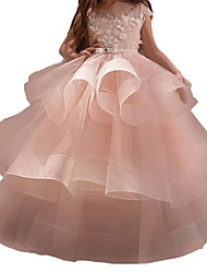 cheap -Princess Maxi Pageant Flower Girl Dresses - Polyester Sleeveless Jewel Neck with Bow(s) / Embroidery