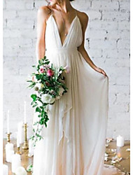 cheap -A-Line V Neck Floor Length Chiffon Spaghetti Strap Backless Wedding Dresses with Draping 2020