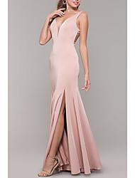 cheap -Mermaid / Trumpet Elegant Formal Evening Dress Plunging Neck Sleeveless Floor Length Satin with Pleats Split Front 2020