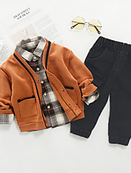 cheap -Toddler Boys' Active Plaid Long Sleeve Clothing Set Brown