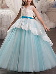 cheap -A-Line Floor Length Pageant Flower Girl Dresses - Tulle Sleeveless Jewel Neck with Lace / Bow(s)