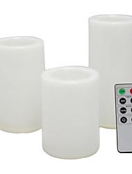 abordables -3 pcs 7.5 * 10 / 12.5 / 15 cm étanche en plastique extérieur sans flamme led pilier bougie batterie fonctionnant électrique veilleuse flamme vacillante avec télécommande et minuterie pour noël