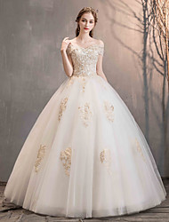 cheap -Ball Gown Off Shoulder Floor Length Lace / Tulle Short Sleeve Made-To-Measure Wedding Dresses with Beading / Appliques 2020