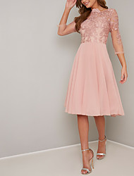 cheap -A-Line Scalloped Neckline Knee Length Chiffon / Lace Elegant Cocktail Party / Holiday Dress 2020 with Lace Insert