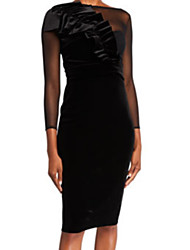 cheap -Sheath / Column Jewel Neck Knee Length Tulle / Velvet Elegant Cocktail Party / Holiday Dress with Appliques / Ruched 2020
