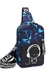 cheap -Unisex Nylon Sling Shoulder Bag Geometric Pattern Fuchsia / Blue / Gray