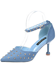 cheap -Women's Heels Stiletto Heel Pointed Toe Rivet Suede Casual / Minimalism Spring &  Fall / Spring & Summer Black / Blue