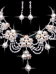 cheap -Women's Clear Ivory Pearl Hoop Earrings Necklace Geometrical Flower Shape Classic Baroque Earrings Jewelry Silver For Wedding Party 1 set