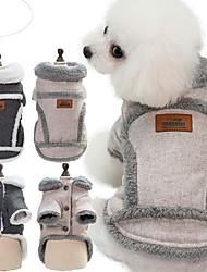 baratos -Cachorros Casacos Inverno Roupas para Cães Marron Cinzento Ocasiões Especiais Algodão Retalhos Fantasias S M L XL XXL
