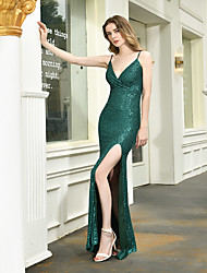 cheap -Mermaid / Trumpet Spaghetti Strap Floor Length Sequined Sexy / Sparkle & Shine Formal Evening Dress with 2020