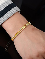 cheap -Men's Chain Bracelet Cut Out Heart Precious Simple Fashion Copper Bracelet Jewelry Gold For Party Daily Street Work / Gold Plated
