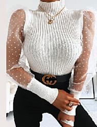 cheap -Women's Polka Dot Long Sleeve Pullover Sweater Jumper, Turtleneck Black / White / Red S / M / L