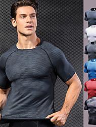 Недорогие -YUERLIAN Муж. Компрессионная футболка 3D-печати Черный Чёрный / Серебряный Белый Красный Синий Бег Фитнес Тренировка в тренажерном зале Футболка Основной слой С короткими рукавами Спорт / Дышащий