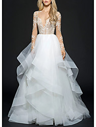 cheap -Ball Gown Wedding Dresses V Neck Floor Length Organza Long Sleeve Illusion Sleeve with Appliques Cascading Ruffles 2020
