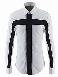 cheap -Men's Daily Shirt - Color Block Black