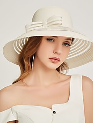cheap -Women's Basic Polyester Straw Hat Sun Hat-Solid Colored Summer Fall Black White Blue