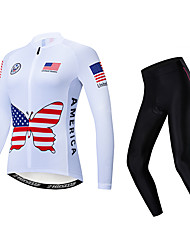 cheap -21Grams American / USA Women's Long Sleeve Cycling Jersey with Tights - White Bike Clothing Suit Thermal / Warm Breathable Quick Dry Sports Winter Fleece Polyester Elastane Mountain Bike MTB Road