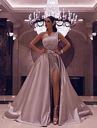 cheap -Women's Sheath Dress Maxi long Dress Black Blushing Pink Sleeveless Color Block Mesh Patchwork Fall Spring One Shoulder Elegant Formal 2021 S M L XL XXL